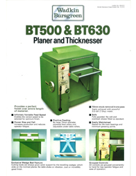 Wadkin BT 500 630 Thicknesser
